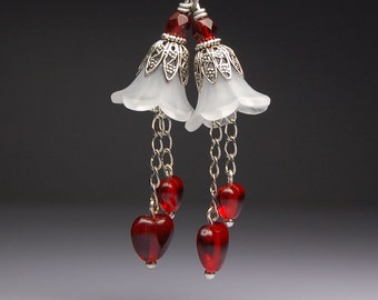 Vintage Style Bead Dangles White Lucite Flowers Red Hearts Pair R602