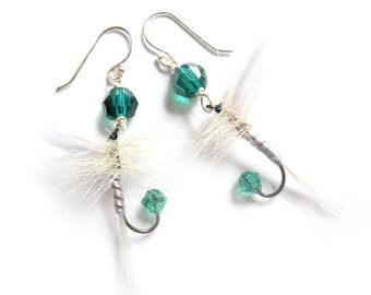 Emerald Green and White Fishing Lure Earrings - Fun Fly Female Fisherman Angler Fish Feather Crystal Sterling Silver Jewelry