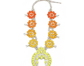 Ombre Squash Blossom Necklace- Oranges