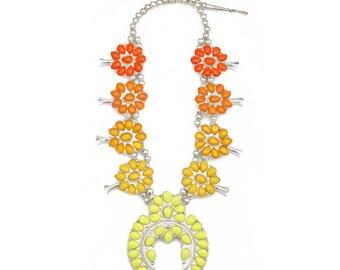 Ombre Squash Blossom Necklace- Oranges