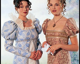EMPIRE-REGENCY ERA-Elegant Ensemble Historical Sewing Pattern- Empire Waist Gown-Matching Long Coat-Andalusian Sleeves-Uncut-Size 12-14-Rare