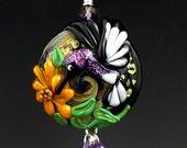Hummingbird Garden handmade lampwork focal bead pendant for necklace SRA
