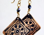 Etched Copper Earrings Dark Blue Medallions