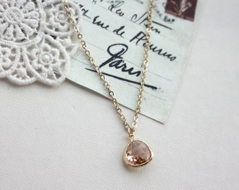 Wedding Necklace, Peach Necklace, PeachTeardrop Necklace Blush Champagne Peach Glass Pendant Necklace. Bridesmaids Gift. BridalJewelry