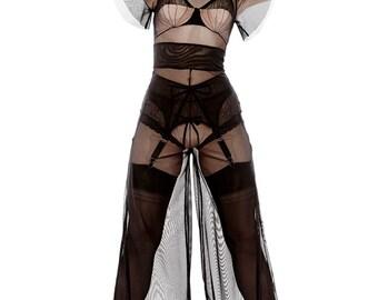 Sheer Show Black Mesh Pantsuit Loungewear Jumpsuit Bodysuit