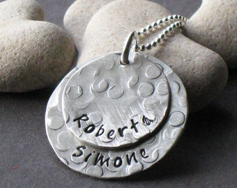 Two Wishes - personalized necklace, hand stamped jewelry, mommy brag necklace - Christina Guenther