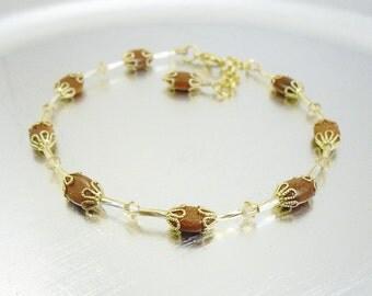 Beaded Ankle Bracelet - Goldstone and Champagne Swarovski Crystal Glass Anklet