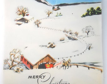 CHRISTMAS COUNTRYSIDE AMERICANA vintage 1950 card, country christmas, New England Christmas, horse and buggy image