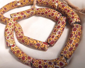Vintage Trade Beads, Venetian Glass, Large Elbow Shaped Trading Beads,  2 Matched Elbow Trade Beads, African Trade Beads