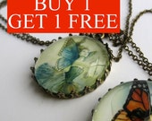 BUY 1 GET 1 FREE - 2 necklaces set with paintings by Lenise Alexandra - fairy, fantasy, painting, whimsical, goddess, girl
