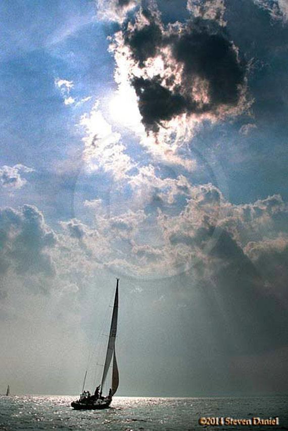 Sunset Sail, Sailboat Art Print Setting Sun Boat Yacht