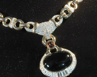 Vintage Panetta Necklace, Gorgeous Pave Crystal, Gripoix Glass Accents, 18k Gold Look, Timeless Dior Design, Absolute Flawless Condition