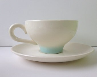 Mid-Century Teacups and Saucers, Blue and White, Set of Four