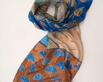 Hand Painted Silk Scarf Ginkgo Leaves. Decorative shawl, scarf in cobalt and brown, Luxury long scarf. Silk painting by Klaradar KA17