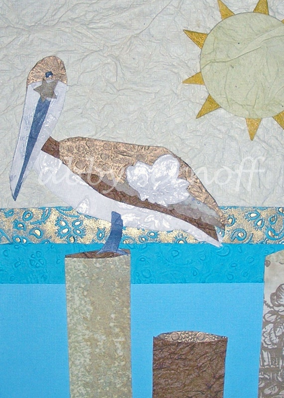 ACEO Print Bird Art Collage Pelican Resting