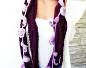 Crochet Circle  Scarf ,  Womens Scarf,   Necklace Scarf  , Chain Scarf  Floral   Gift idea Winter accessories Fashion  Mom , gift for her