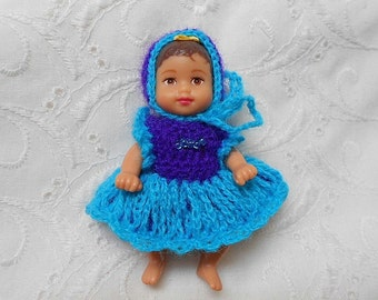 "Dress & Bonnet Set in Blue for 3""KRISSY Baby Doll  #04"