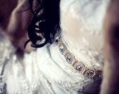 Oval rhinestone and pearl bridal sash in ivory