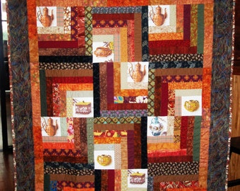Quilt Lap or Wallhanging Fall Autumn Log Cabin