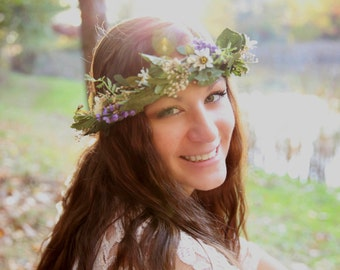 Bridal dried Flower crown Woodland Hair Wreath headpiece -Mother Nature-artificial realistic greenery Barn Wedding Accessories garland halo
