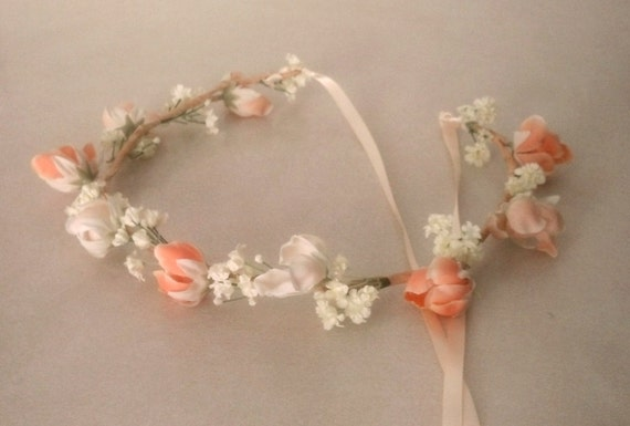 Summer Bridal Floral crown blush peach dreamy hair Wreath garland Woodland wedding accessories Flower girl halo headpiece Aussie Bride