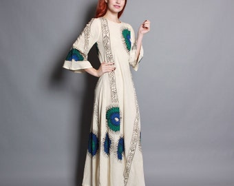 60s Ethnic CAFTAN DRESS / Bold Hand PRINTED Floral Cotton Bell Sleeve Maxi