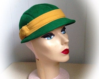 Vintage Green Wool Hat with Mustard Yellow Band Glenover Henry Pollak Inc