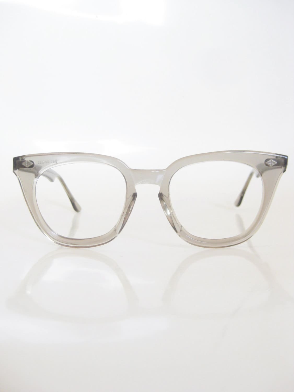 Vintage Grey Horn Rim Eyeglasses Mens Light Grey Clear