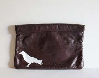 VINTAGE brown CLUTCH with hand painted BIRD