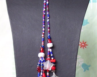 Red White and Blue Lariat Necklace