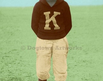 The Rookie, large original photograph of Yellow Lab dog wearing vintage football uniform at Kanine University