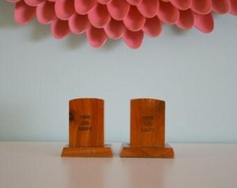 Vintage Wood Salt and Pepper Tombstone Shakers