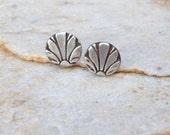 Fan silver stud earrings sterling silver jewelry silver studs romanic gift jewelry earrings handstamped jewelry metalwork gift idea birthday