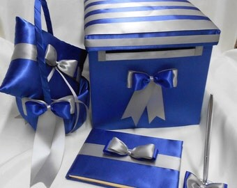 Royal Blue Silver Wedding accessories Ring Pillow Flower Girl Basket Guest Book Pen card box Your Colors