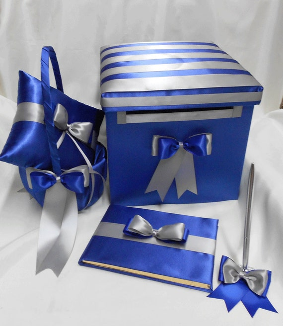 Royal Blue And Black Wedding Ideas: Royal Blue Silver Wedding Ring Pillow Flower Girl Basket