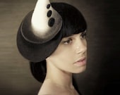 Avant Garde Harlequin Hat in Cream and Black Ombre - Made to Order.