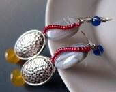 Silver Hammered Disc Yellow Jade Lapis Lazuli Earrings Red Blue Dangle Beaded Earrings Bohemian African Folk Art Tribal Ethnic Jewelry