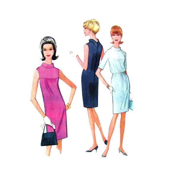 Vintage 60s Shift Dress Pattern McCalls 8554 V Back Dress Rolled Collar | Size 12 Womens Sewing Pattern