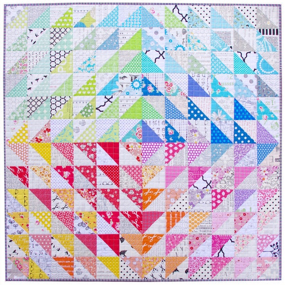 Modern Patchwork Quilt in a Rainbow of Colors