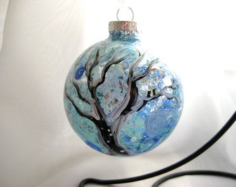 Frosted Forest hand painted glass ornament large