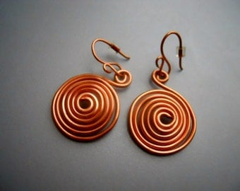 Simple Copper Wire Spiral Swirl Dangle Earrings, tribal