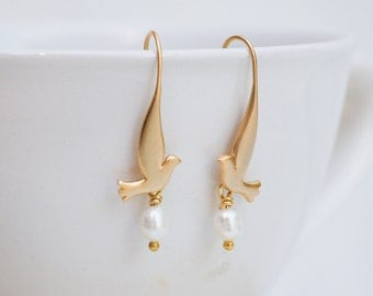 GOLD BIRD EARRINGS Pearl Golden Dove Woodland Bird Wedding Freshwater Pearls