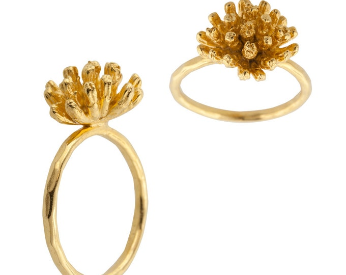 Gold Magnolia Blossom Ring made to order in your size