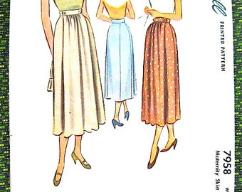 Uncut 1940s vintage sewing pattern by Simplicity 7958 40s Skirt Pattern  Waist 28 inches
