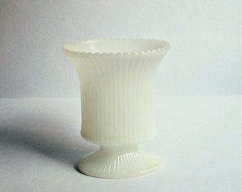 Vintage Ribbed Milk Glass Vase ~ E. O. Brody Co. ~ White Pedestal Vase