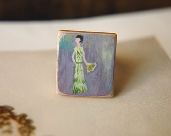 1920s Flapper Lady Ring Hand Painted Adjustable Band - Flapper in Green