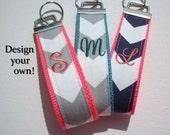 Key FOB / KeyChain / Wristlet  - initial monogram on your choice of chevron preppy -  custom