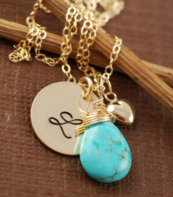 Gold Initial Necklace, Initial Jewelry, Personalized Jewelry, Initial Script Font, Gold Initial Monogram, Turquoise Pendant, Bridal Jewelry