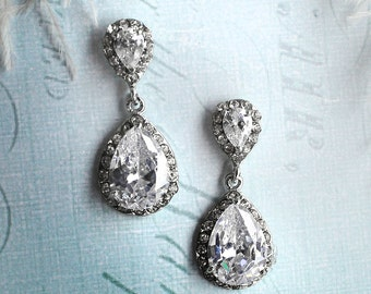 Vintage wedding earrings, 1920s earrings, Vintage bridal earrings, antique crystal earrings, drop earrings, pear shaped earrings - 'CAMILLE'