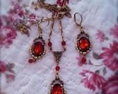Garnet Victorian Sparkling Courtesan necklace and earring set